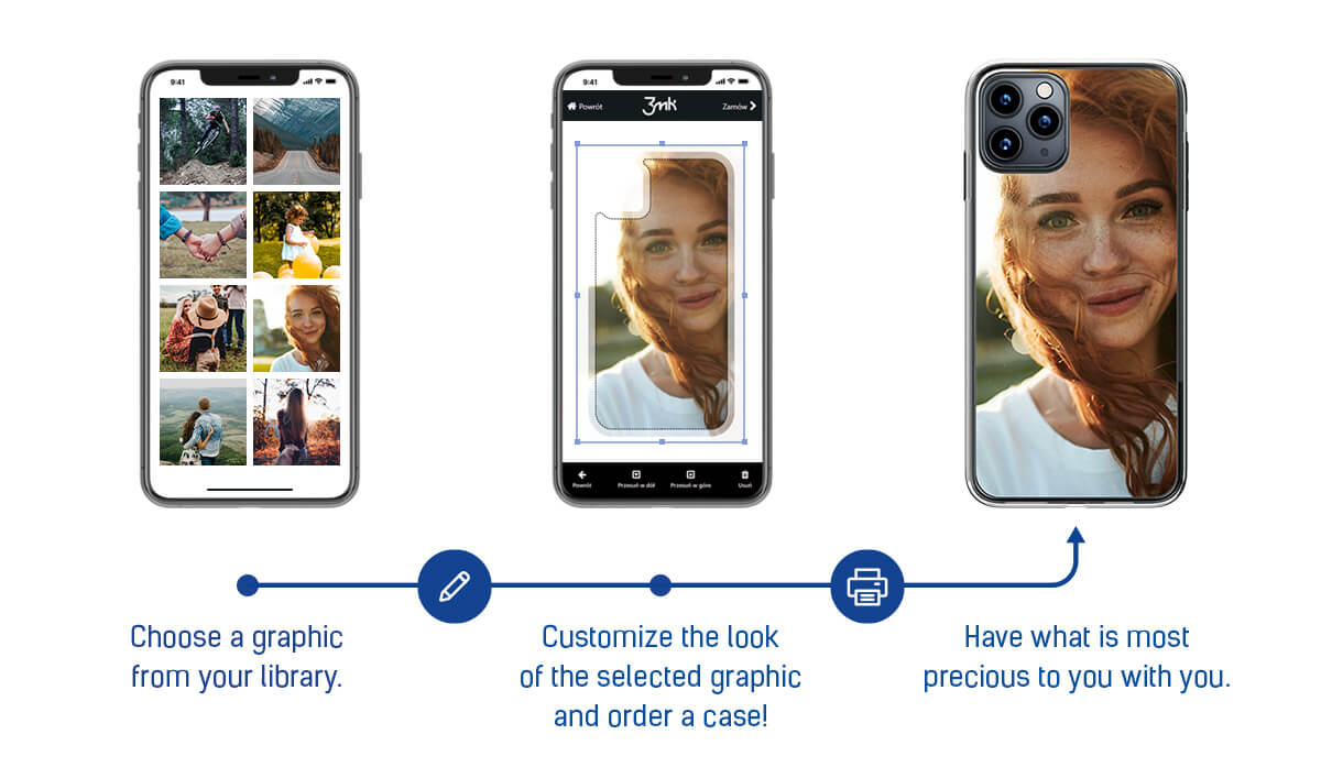 All-Safe 3.0 Personalisation process: 1. Choose a graphic from your library. 2. Customize the look of the selected graphic and order a case! 3. Have what is most precious with you.